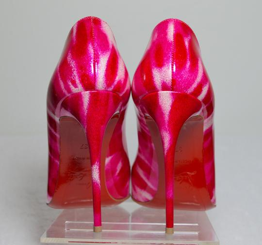 Christian Louboutin Glitter Leather Red Soles 100mm Heel Pink/White Pumps Image 5
