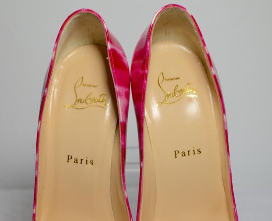 Christian Louboutin Glitter Leather Red Soles 100mm Heel Pink/White Pumps Image 7