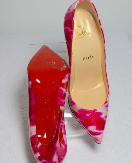 Christian Louboutin Glitter Leather Red Soles 100mm Heel Pink/White Pumps Image 9