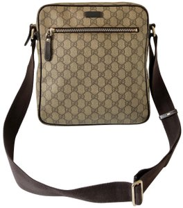 Gucci Gg Brown Supreme Canvas & Leather Messenger Bag 69% off retail