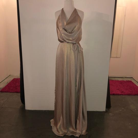 Rose Gold Metallic Chiffon Liane Modern Bridesmaid/Mob Dress Size 12 (L) Image 0
