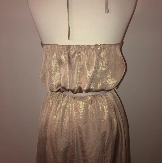 Rose Gold Metallic Chiffon Liane Modern Bridesmaid/Mob Dress Size 12 (L) Image 3