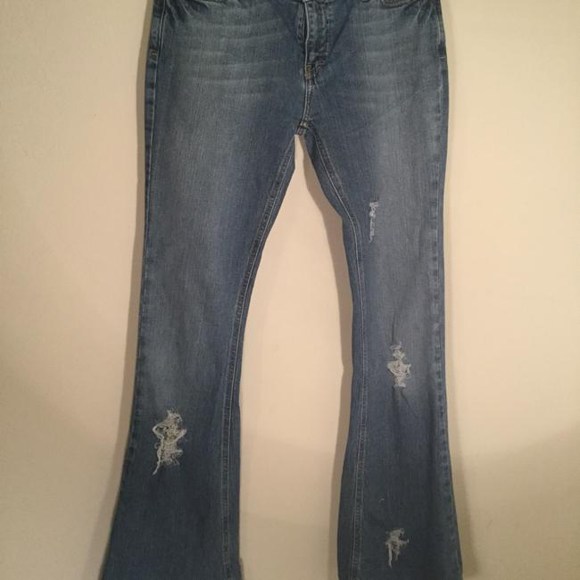 Roots & Wings Vintage Denim Refashioned Distressed Christian Boot Cut Jeans-Distressed Image 11
