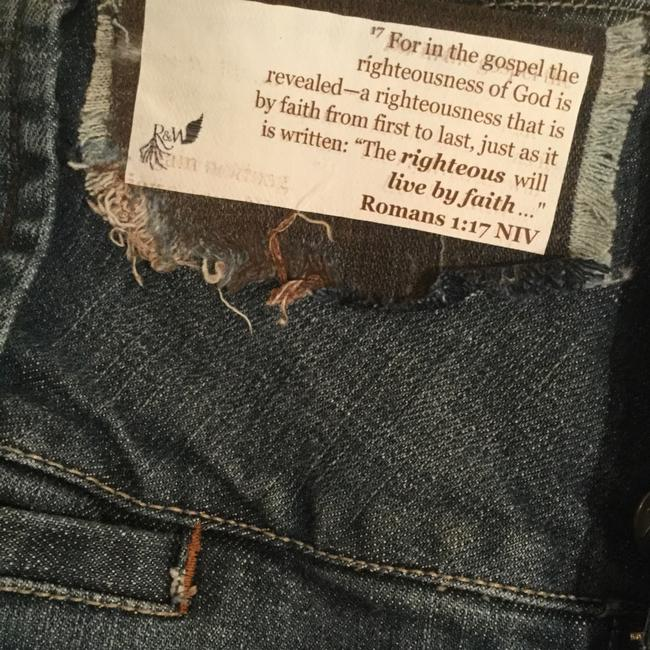 Roots & Wings Vintage Distressed Denim Refashioned Christian Boot Cut Jeans-Distressed Image 4
