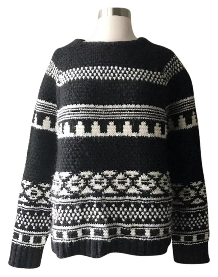 aebf3595 Zara Alpaca Blend Fair Isle Black & White Sweater - Tradesy