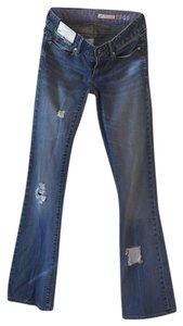 Roots & Wings Vintage Denim Refashioned Distressed Christian Boot Cut Jeans-Distressed