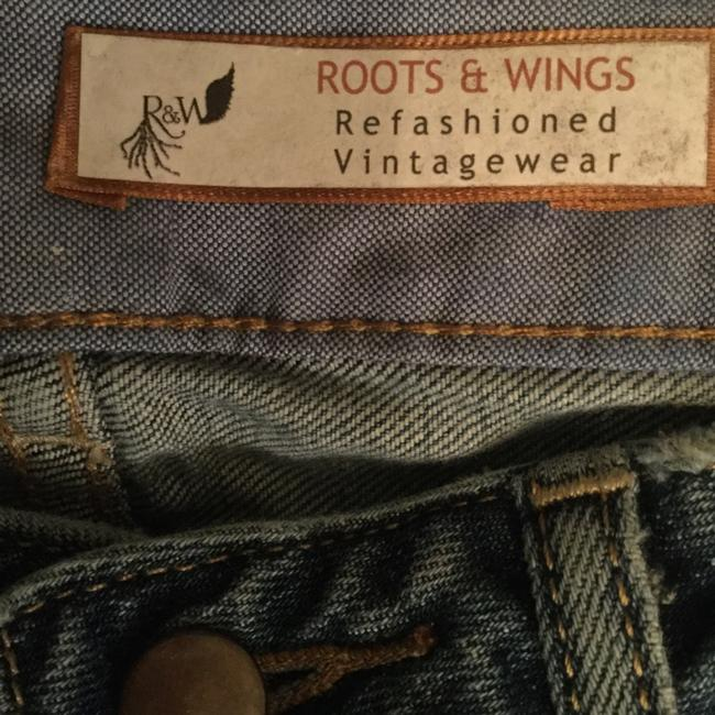 Roots & Wings Vintage Denim Refashioned Distressed Christian Boot Cut Jeans-Distressed Image 6
