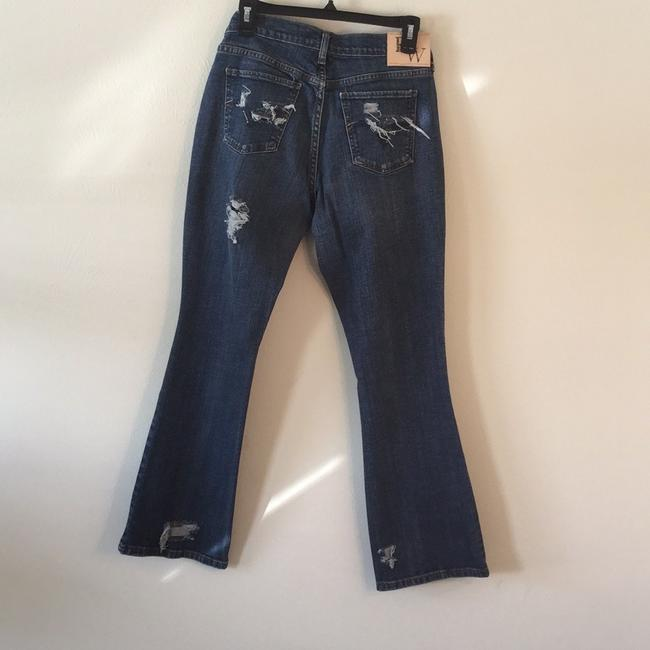 Roots & Wings Vintage Denim Refashioned Distressed Christian Boot Cut Jeans-Distressed Image 2