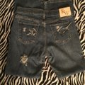 Roots & Wings Vintage Denim Refashioned Distressed Christian Boot Cut Jeans-Distressed Image 7