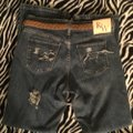 Roots & Wings Vintage Denim Refashioned Distressed Christian Boot Cut Jeans-Distressed Image 9