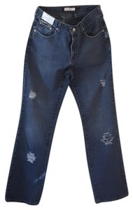 Roots & Wings Vintage Distressed Denim Refashioned Christian Boot Cut Jeans-Distressed