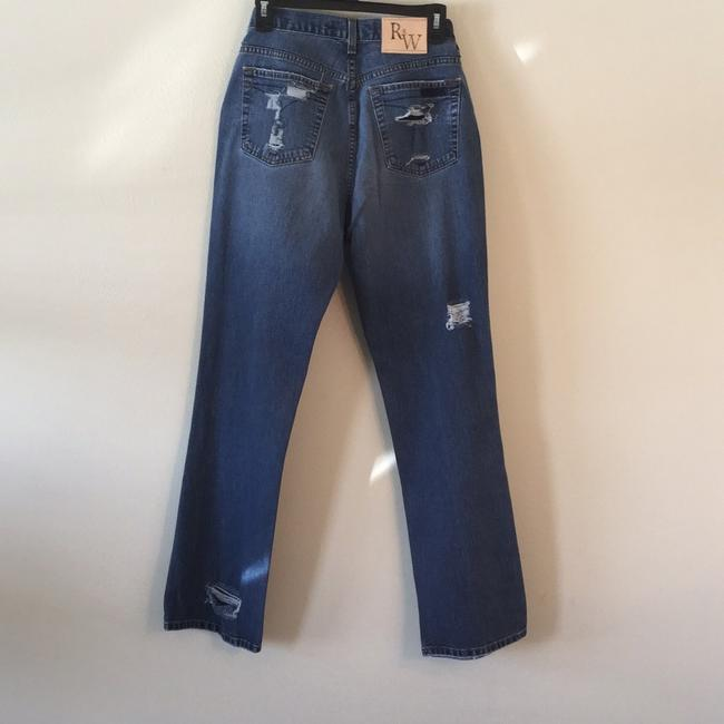 Roots & Wings Vintage Distressed Denim Refashioned Christian Boot Cut Jeans-Distressed Image 1
