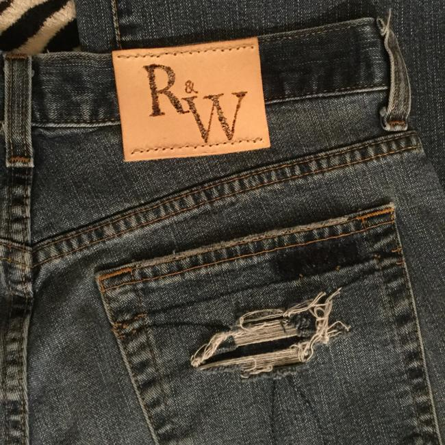 Roots & Wings Vintage Distressed Denim Refashioned Christian Boot Cut Jeans-Distressed Image 3