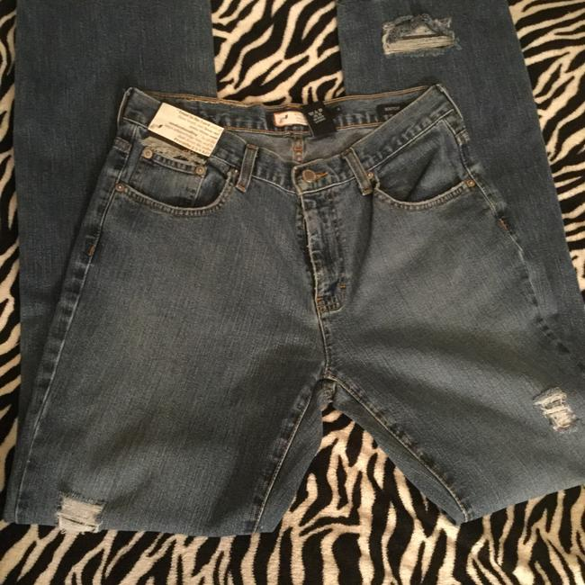 Roots & Wings Vintage Distressed Denim Refashioned Christian Boot Cut Jeans-Distressed Image 6