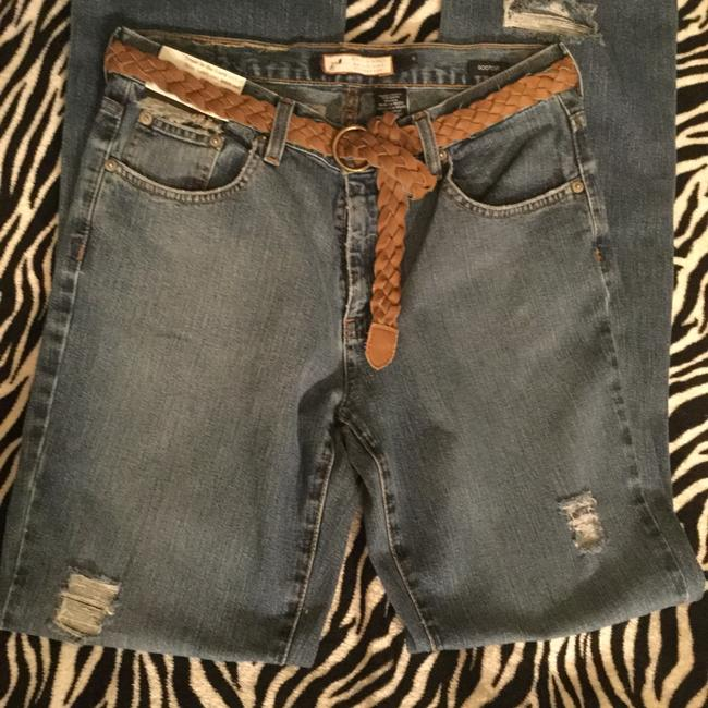 Roots & Wings Vintage Distressed Denim Refashioned Christian Boot Cut Jeans-Distressed Image 8