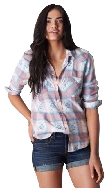 Preload https://img-static.tradesy.com/item/24623069/american-eagle-outfitters-blue-cream-blush-pink-vintage-boyfriend-southwestern-plaid-button-down-top-0-8-650-650.jpg