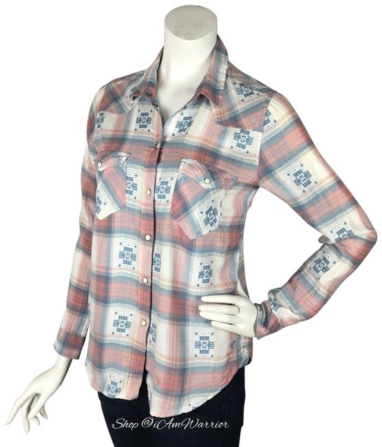 American Eagle Outfitters Button Down Shirt Blue, cream, blush pink Image 1
