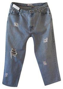 Roots & Wings Vintage Denim Refashioned One Of A Kind Christian Straight Leg Jeans-Distressed