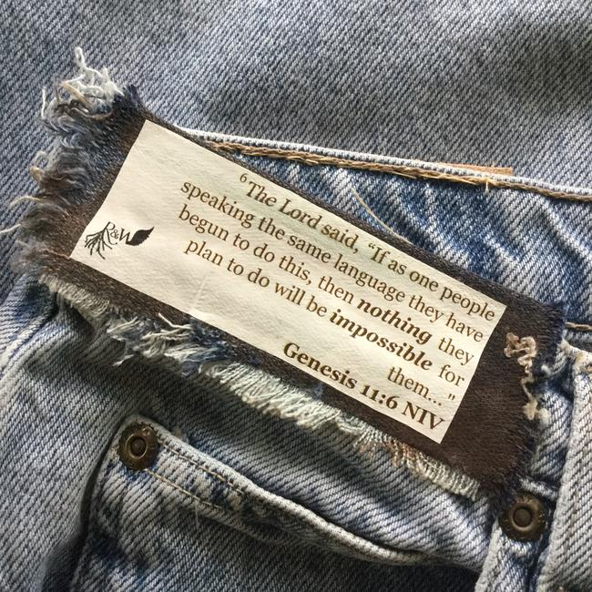 Roots & Wings Vintage Denim Refashioned One Of A Kind Christian Straight Leg Jeans-Distressed Image 2