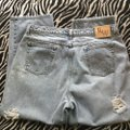 Roots & Wings Vintage Denim Refashioned One Of A Kind Christian Straight Leg Jeans-Distressed Image 5