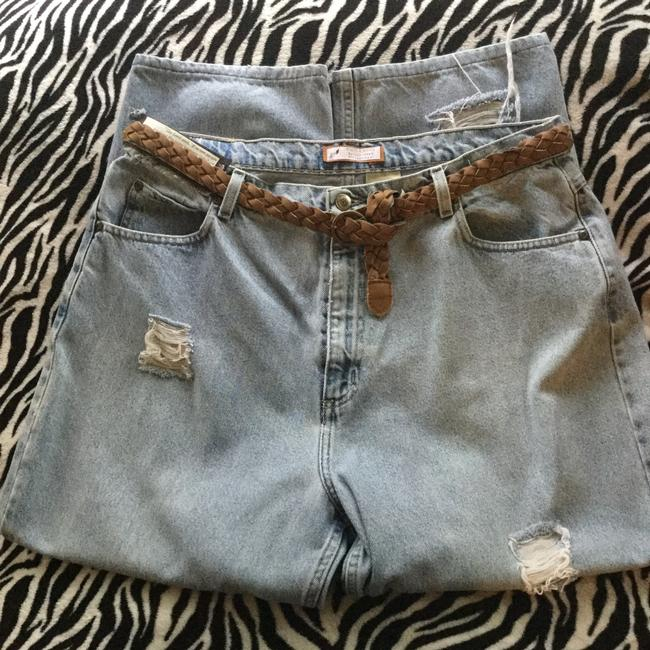 Roots & Wings Vintage Denim Refashioned One Of A Kind Christian Straight Leg Jeans-Distressed Image 7