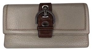 Coach Trifold Leather Wallet with Checkbook Register and Belt