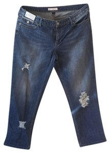 Roots & Wings Vintage Distressed Refashioned Christian Capri/Cropped Denim-Distressed