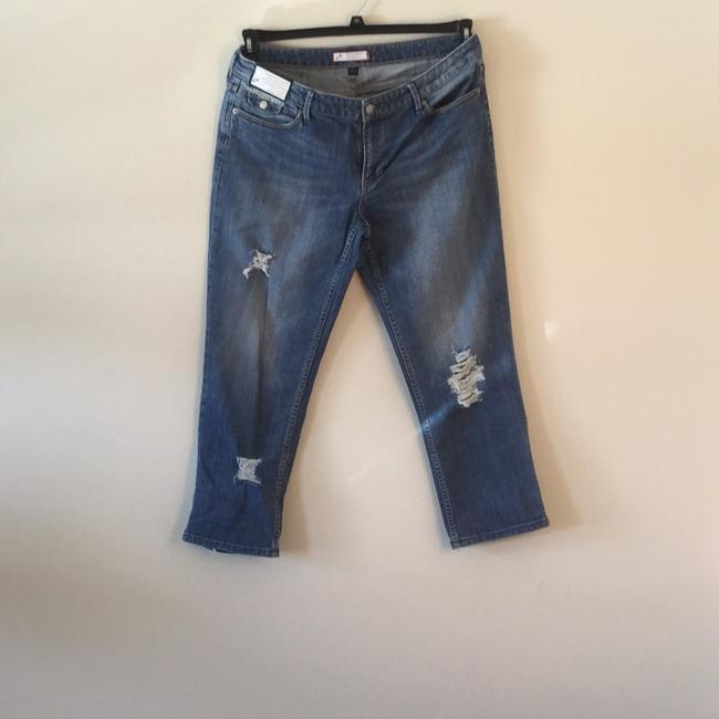 Roots & Wings Vintage Distressed Refashioned Christian Capri/Cropped Denim-Distressed Image 1