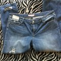 Roots & Wings Vintage Distressed Refashioned Christian Capri/Cropped Denim-Distressed Image 6