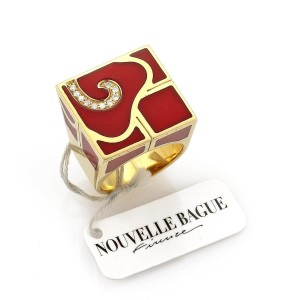 Other Nouvelle Bague Diamond Enamel 18k Yellow Gold Square Ring
