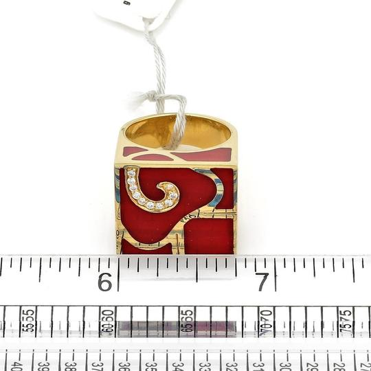Other Nouvelle Bague Diamond Enamel 18k Yellow Gold Square Ring Image 6