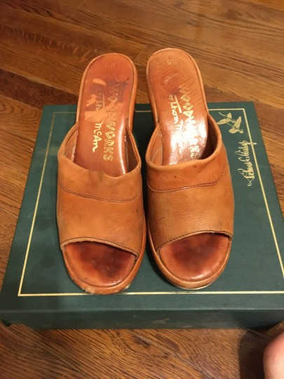 Thom McAn Leather Vintage Imported Tan Mules Image 1