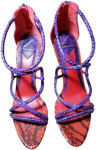 B Brian Atwood Snakeskin Multicolor Red Pink Purple Sandals