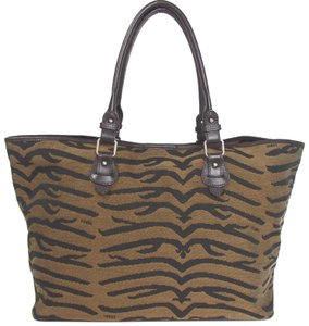 9dcda86b6de3 Fendi Animal Print Brown Canvas Leather Tote - Tradesy
