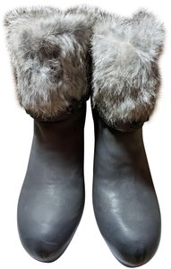Ash Rabbit Wedge Gray Leather Iron Boots