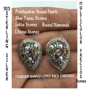 T&J 925 Sterling Silver Multicolor Gemstone Lever Back Earrings