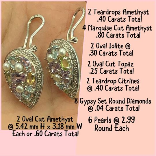 T&J 925 Sterling Silver Multicolor Gemstone Lever Back Earrings Image 3