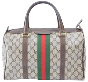 cf9c532b2ab8 Gucci Joy Speedy Doctors Vintage Stripe Satchel in Brown