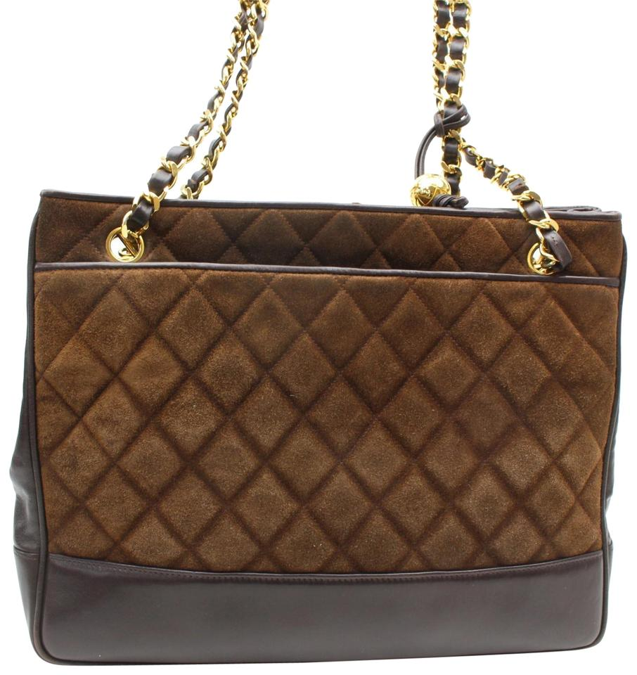 f45db001cc Chanel Quilted Chain Shopper Tote 869572 Brown Suede Leather ...