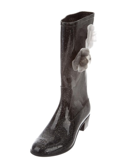 Chanel Black Glitter Boots Image 0