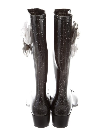 Chanel Black Glitter Boots Image 1
