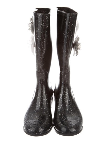 Chanel Black Glitter Boots Image 2