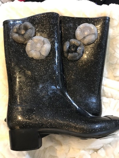 Chanel Black Glitter Boots Image 3