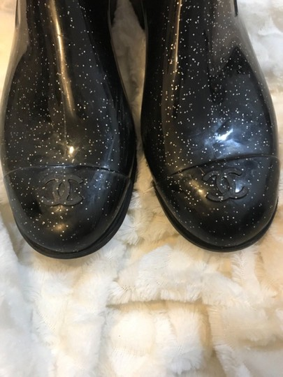 Chanel Black Glitter Boots Image 4