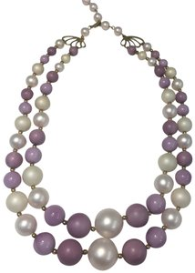 Vintage Vintage pearl style purple double strand bead necklace
