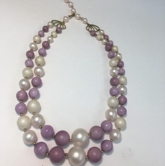 Vintage Vintage pearl style purple double strand bead necklace Image 1