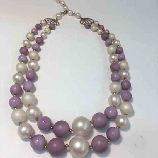 Vintage Vintage pearl style purple double strand bead necklace Image 2