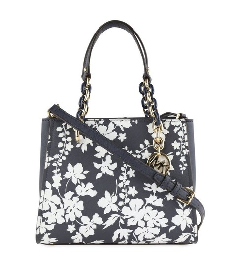 Michael Kors Medium Chain Md Ns Tote navy blue floral Messenger Bag Image 0