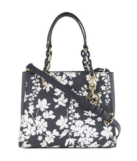 Michael Kors Medium Chain Md Ns Tote navy blue floral Messenger Bag Image 11