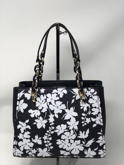 Michael Kors Medium Chain Md Ns Tote navy blue floral Messenger Bag Image 7